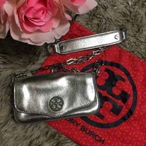 Tory Burch Metallic Silver Crossbody Small Purse